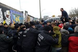 Protesters at the East Side Gallery (Photo Credit: The Guardian)
