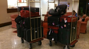 Our army of suitcases, ready for deployment