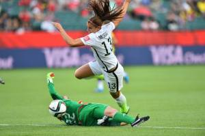 Alex Morgan fouled by goalie