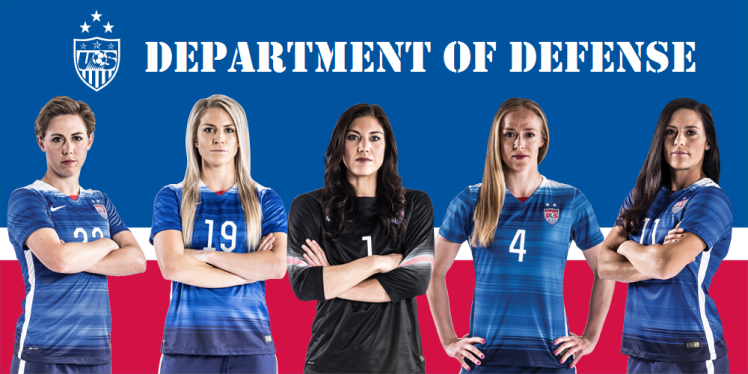 The Dept. of Defense (so named by Megan Rapinoe) is: Meghan Klingenberg, Julie Johnston, Hope Solo, Becky Sauerbrunn, and Ali Krieger
